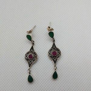 NEW 925 Sterling Silver Emerald & Ruby Earrings